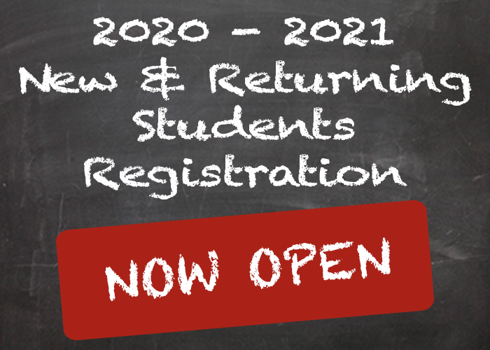 2020-2021 Returning Student Registration now Open